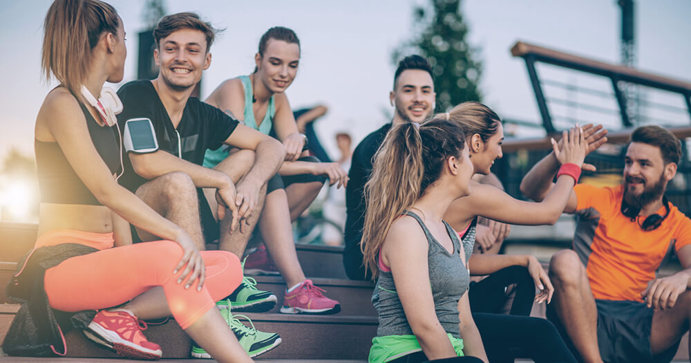 Personal trainer career advice, group of fit friends