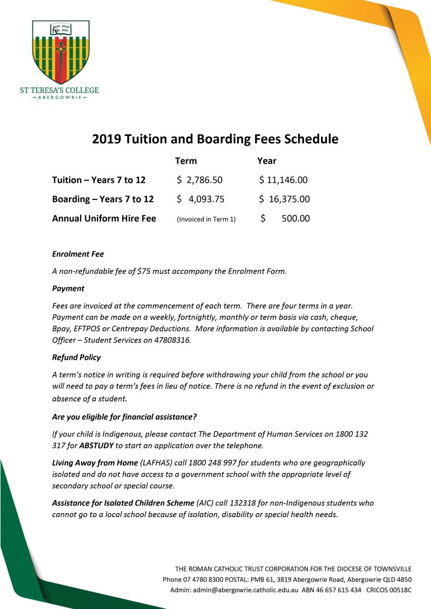 2019 Tuition and Boarding Fees