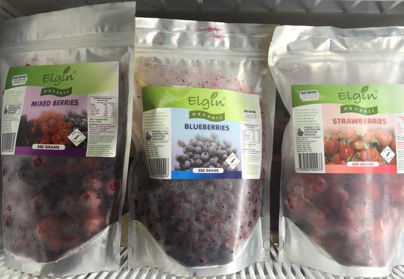 Frozen organic berries
