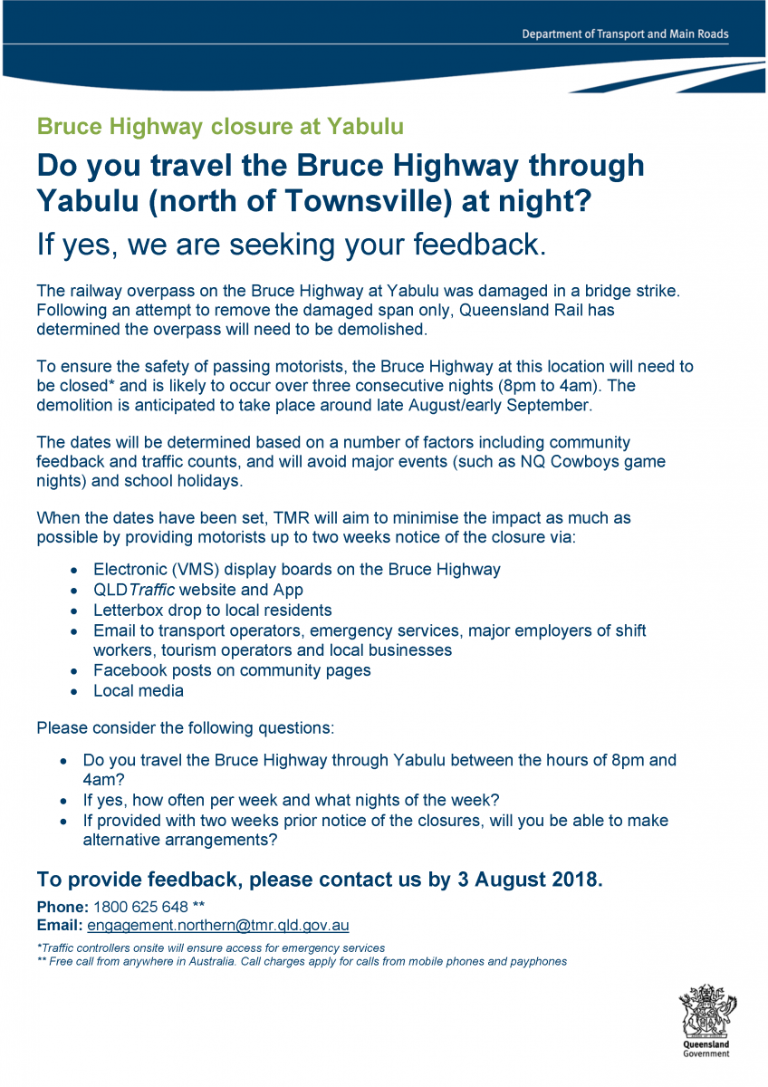 Do you use the Bruce Highway through Yabulu at night?