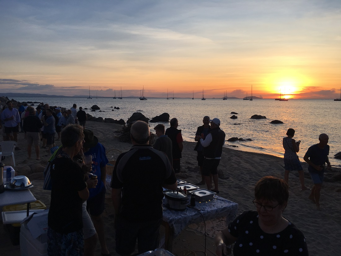 Sun sets as crews relax at Cape Upstart BBQ - Mike Steel