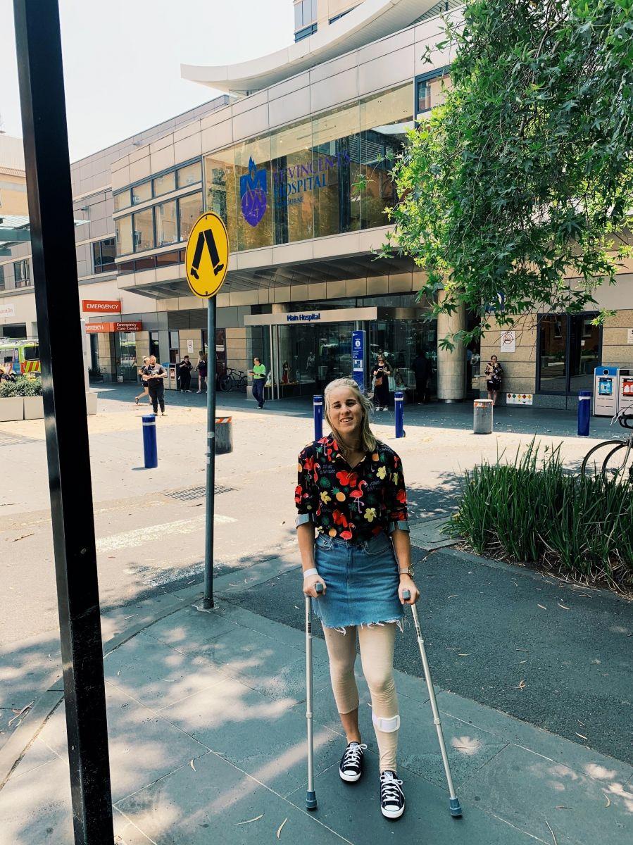 Outside St Vincent's Hospital in Melbourne