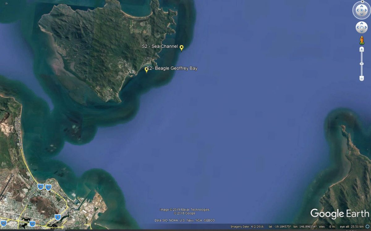 Map of Cleveland Bay showing buoy locations. (Map courtesy of Google Earth)