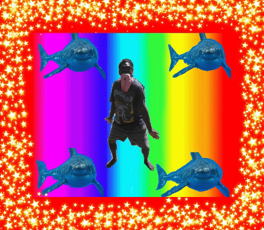 Here I am dancing at my father's funeral, showing myself as Wurrumba with a shark liver in my mouth. The stars here are the glistening water, the same effect as the light that dapples and shines on the shark's head from the water. If they need to fight then Galpu people call themselves Wurrumba. They show themselves as an angry shark. Becoming Wurrumba like that lifts you up to be a hero. It pumps you up. It makes you ferocious. Powerful. — Warren Balpatji