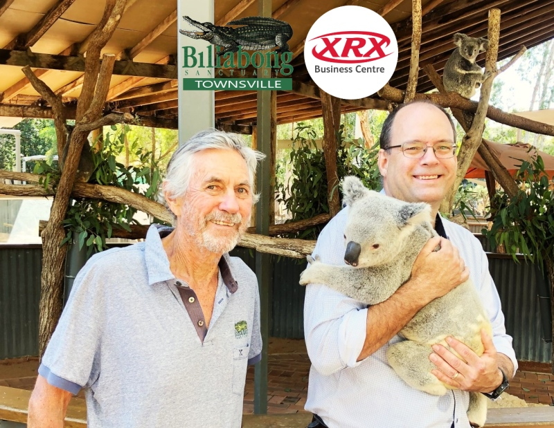 Bob and Micheal holding Koala at the Billabong Sanctuary
