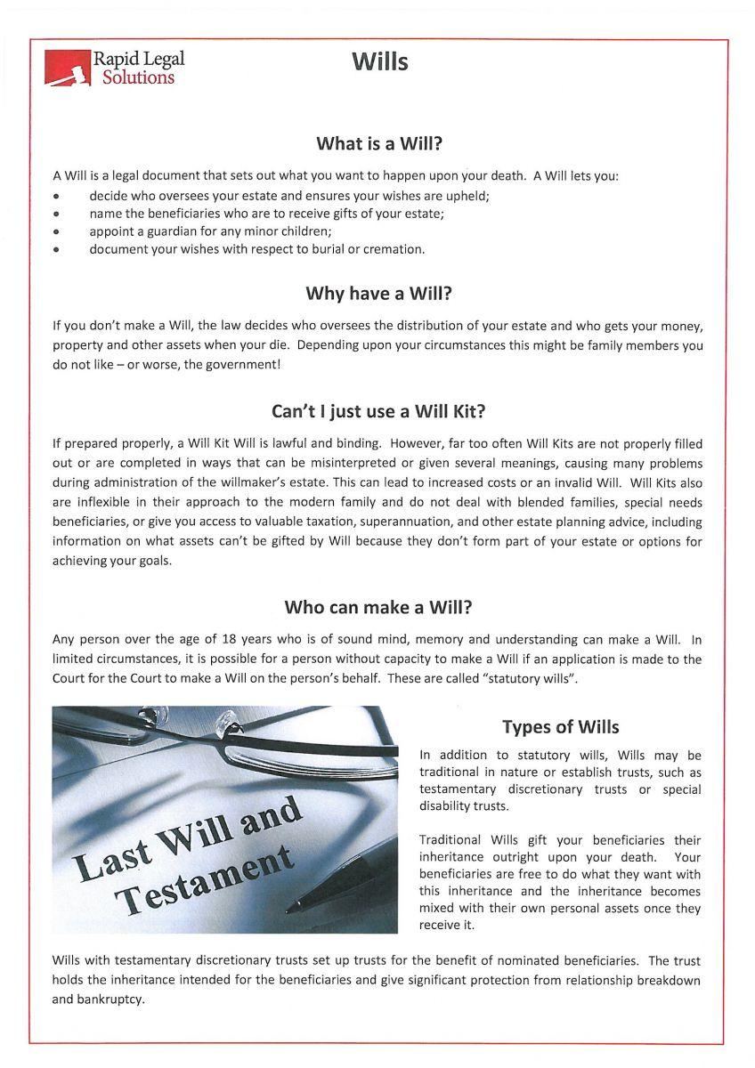 Print media rapid legal solutions fact sheet wills solutioingenieria Images