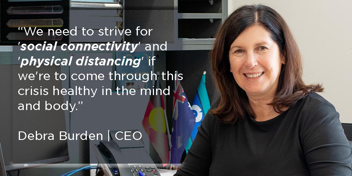selectability CEO Debra Burden quote regarding physical distancing v social distancing for COVID-19 response