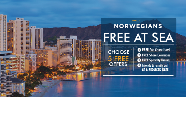 Free At Sea Hawaii Offer! Choose Up To 5 Free Offers!!! PLUS Up To US$500 Onboard Credit!