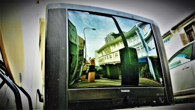 An old cathode ray tube television abandoned along Jiak Chuan Road. The analog age is coming to a close.