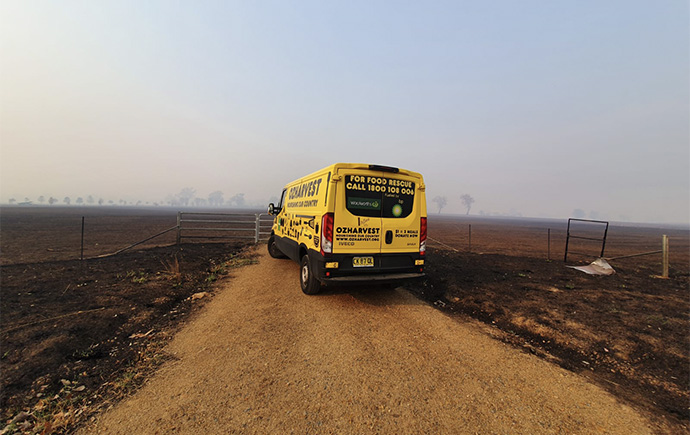 The OzHarvest van visited the bushfire affected town Cudgewa to cook alongisde Aussie chef Clayton Donovan