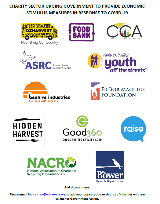 Logos - including OzHarvest, included in the statement urging the government to provide economic support in response to COVID19