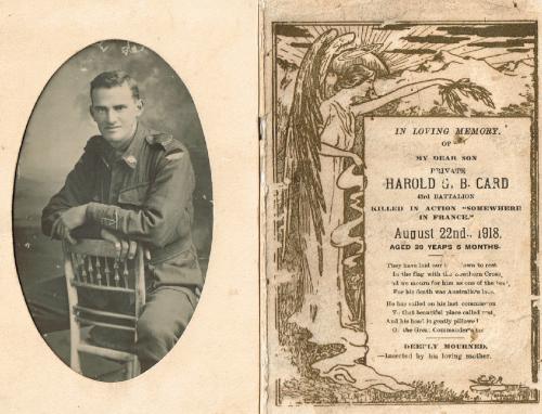 Harold Card Memorial Card