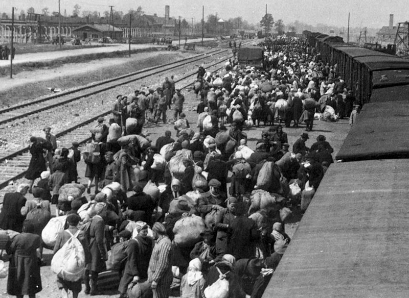 Jews arriving at Auschwitz–Birkenau death camp in 1944