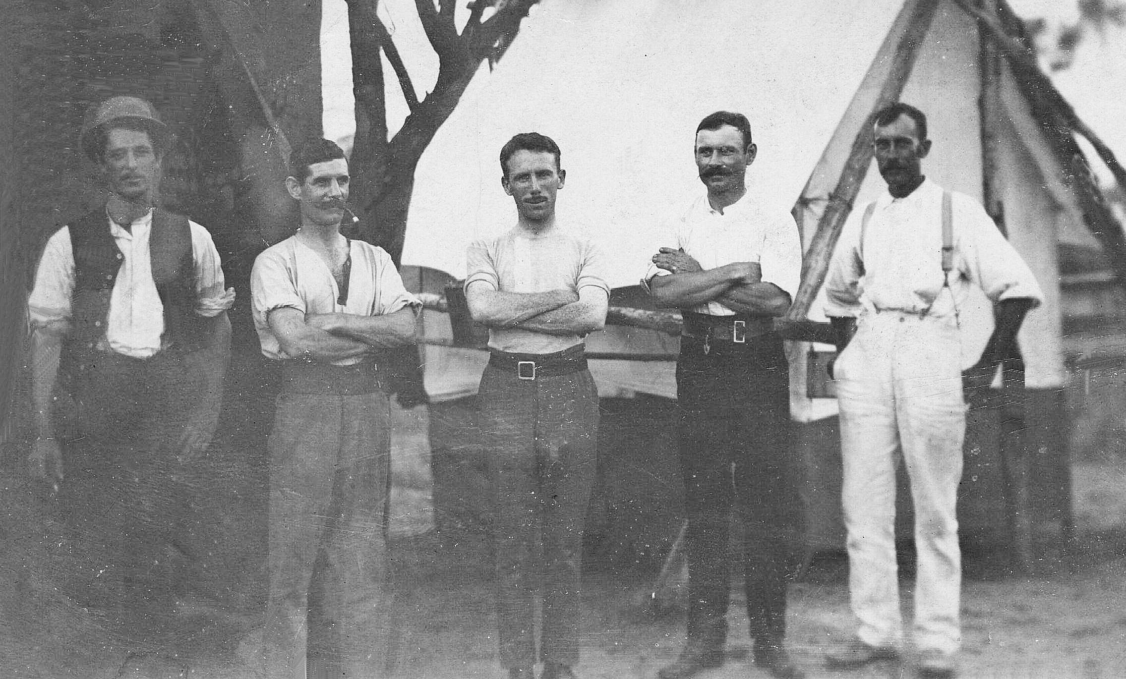 Bluff mining venture with Alex Campbell (second from right) and Arthur Nunn (far right)