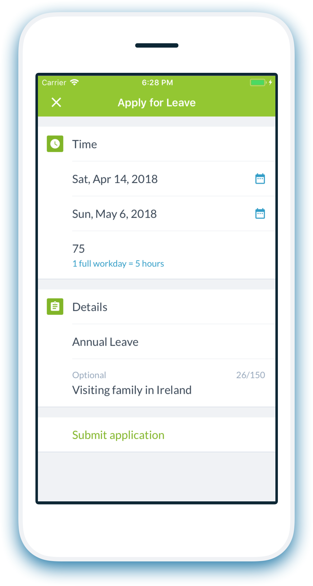 App landing leave apply