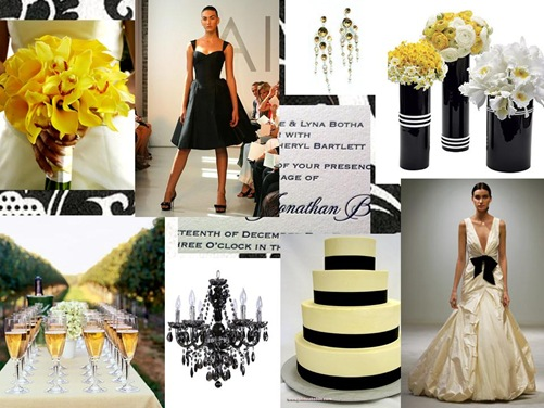 black and white yellow wedding