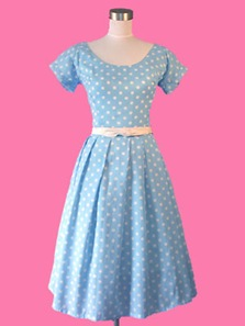 bluepolkadotdress1manolo Your Guide To a Polka Dot Wedding