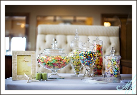 The lolly or candy buffet may be placed on the same table