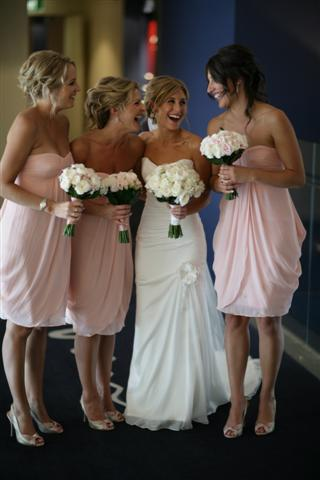 Pink Polka  Dress on The Bridesmaids Wore Pale Pink Frocks From Chic Collections