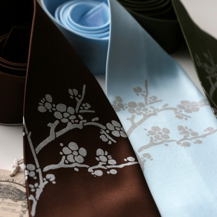 cherry blossom Creative Ties For The Groom