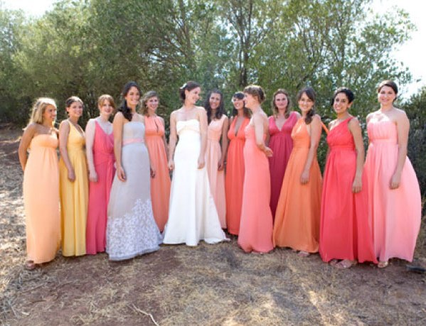 real wedding day and max iii style me pretty the ultimate wedding blog Mismatched Bridesmaids