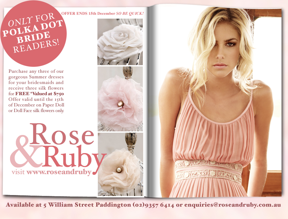 Silk Flower offer Polka dot bride