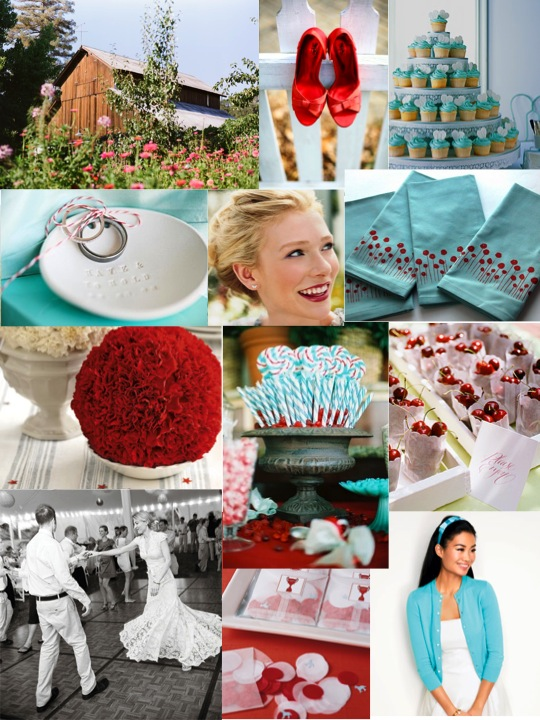 red and bright aqua mood board Red And Bright Aqua Cheerful Celebration