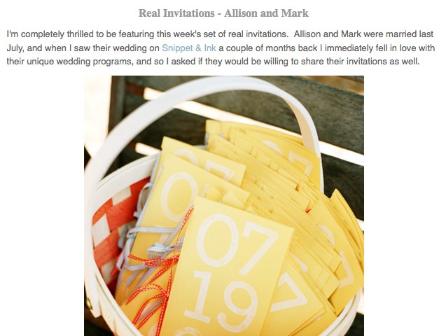Oh So Beautiful Paper_ Real Invitations - Allison and Mark