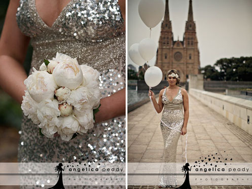bride in silver sequin dress07 Sparkling Glamour Bridal Shoot