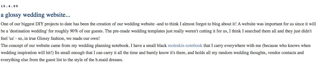 classically modern a glossy wedding website Holiday Reading Guide