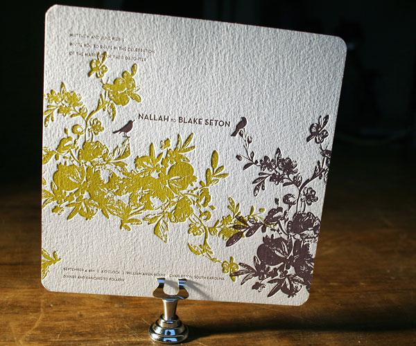 vendage letterpress sample 1 Bella Figura 2010 Collection
