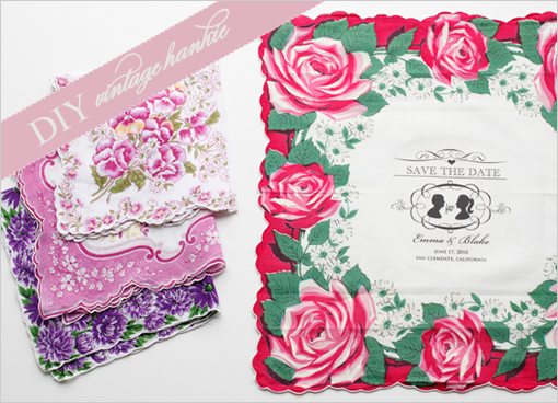 vintage hankie save the date1 Beautiful DIY Projects