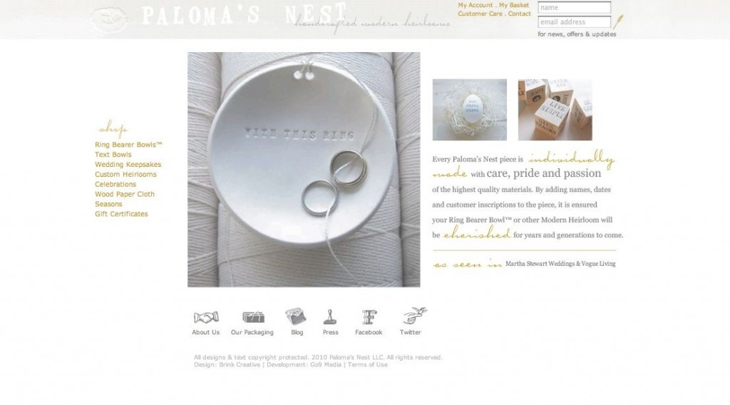 home page peek1 1024x568 Win A Palomas Nest Ring Bearer Bowl™