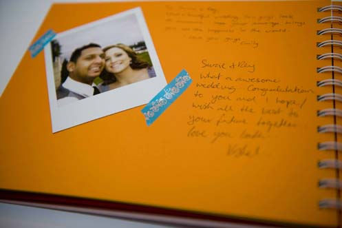 Polaroids and stuck them into a book to act as the couple 39s guest book