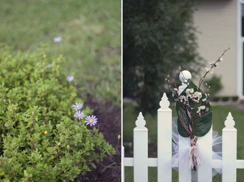 Fences were lined with little arrangements including cinnamon sticks and