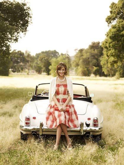 red-plaid-dress-vintage-car-autumn