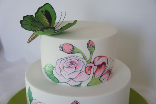 Rose, butterfly & Lily detail