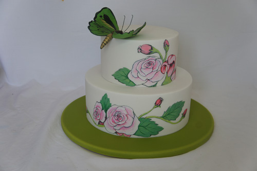 Painted rose, lily wedding cake