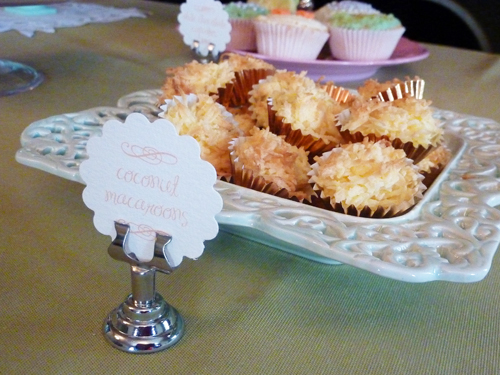 cake buffet labels coconut macaroons