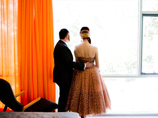 looking out, bride and groom