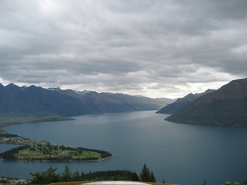 Birds eye view of Queenstown's landscape