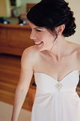 Bride in strapless wedding gown