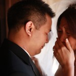 crying bride and groom