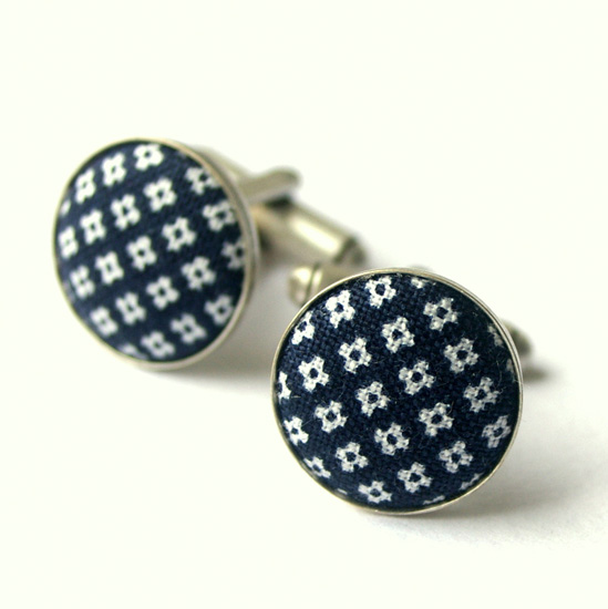 Vintage fabric cufflinks0003 Shagpile Cufflinks