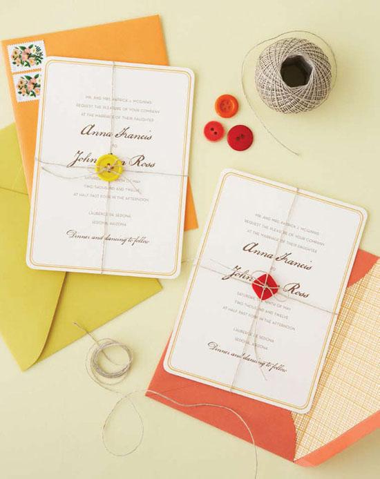 handmade button invitations Handmade Weddings