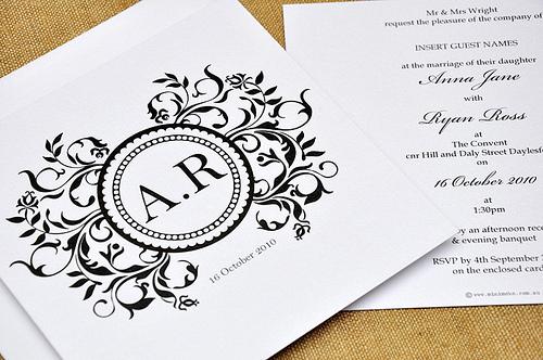 Classic Monogram Wedding Invitation by mini Moko
