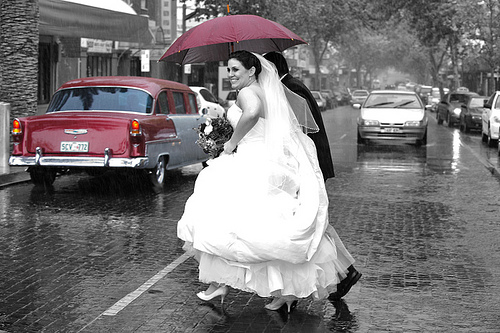 They say rain on your wedding day means no tears in your marriage
