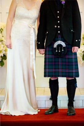 bride with groom in kilt