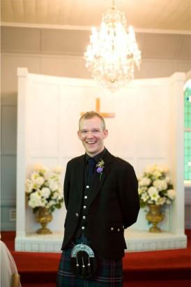 groom in kilt