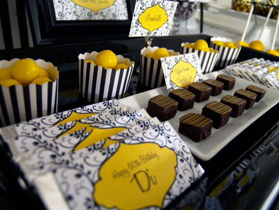 yellow and black candy buffet002 Black and Lemon Lolly Buffet